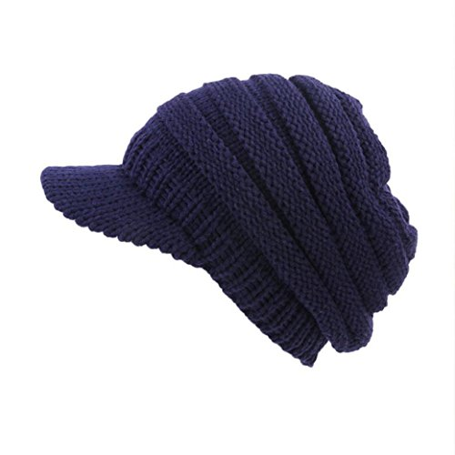 Tpingfe Women Soft Stretch Cable Knit Messy Hat Warm Crochet Wool Ski Skull Slouchy Caps (Navy) -