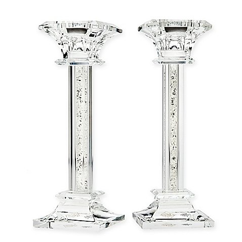 Crystal Glass Candlestick Holders (Set of 2) (San Miguel Salt)