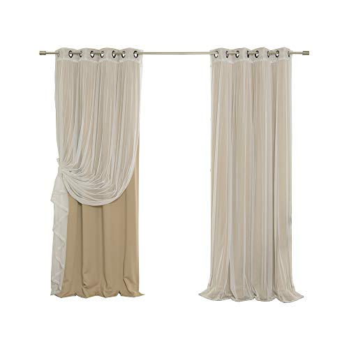 Best Home Fashion Mix & Match Tulle Sheer Lace & Blackout Curtain Set - Antique Bronze Grommet Top - Wheat - 52