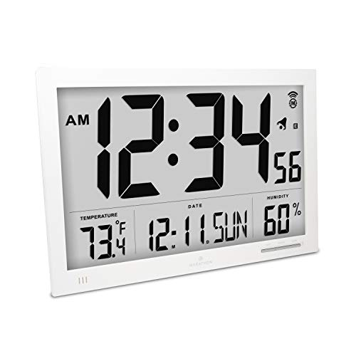 Marathon CL030062WH Slim Atomic Wall Clock with Jumbo Display, Calendar, Indoor Temperature & Humidity. Color-White ()
