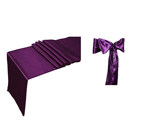 Elina Home Plum Satin 10 Table Runner & 50 Combo of TableRunner & Chair Bow Sash for Wedding, Plum, Plum ()