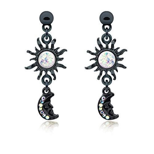 (Covet Jewelry Black Celestial Sun Moon Dangle Ear Stud Earring)