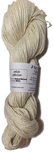 Artisan Yarns Alpaca Silk Yarn, Undyed Natural White, Dk Weight, 100 Grams, 245 Yards, 70/30 Baby Alpaca/Silk