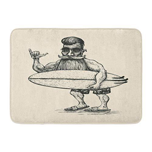 YGUII Doormats Bath Rugs Outdoor/Indoor Door Mat Hipster Surfer Beard Mustache Sunglasses and Surfboard Engraving Linocut Man Bathroom Decor Rug 16X23.6in ()