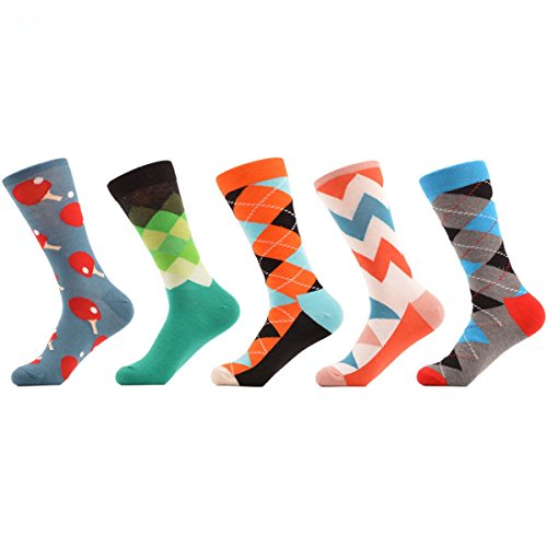 PinkBTFY 5Pairs Colorful Socks Men Bright Color Argyle Stripes Pingpong Combed Cotton Socks 09
