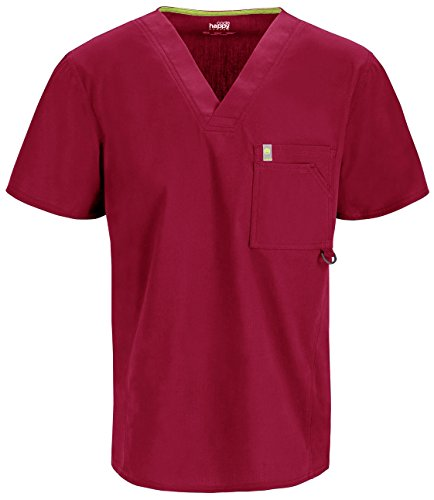 Mens Mesh Scrub Top (Code Happy Men's Bliss W/Certainty V-Neck ScrubTop, Red, Large)