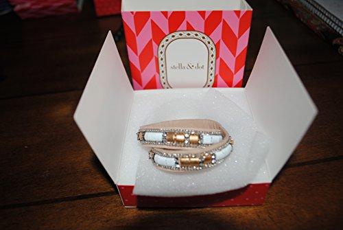 STELLA & DOT gold cady wrapleather rhinestone bracelet gold B290G caddy (Gold Avalon Bracelets)
