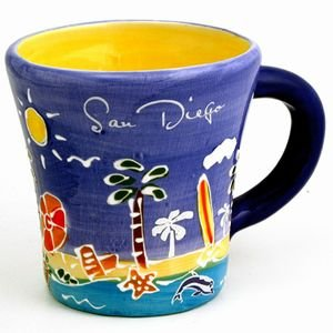 (59 6/18) San Diego Coffee Mug Hand Painted Blue Trumpet Mug With copyrighted CA Bear Magnet