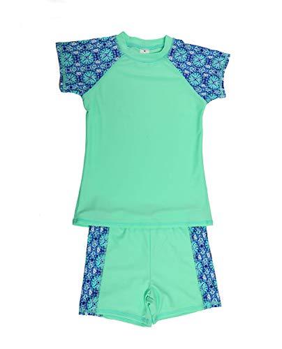 Juniors Short Sleeve Rash Guard - Kids Two Piece Swimsuits Set Short Sleeves Swimwear Boys Girls Bathing Suit Rash Guard Sets UPF 50+ Green