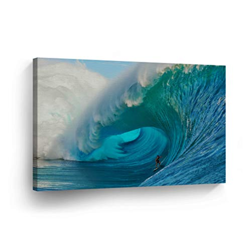 Canvas Print Surfer Wall Art Ocean Waves Big Giant Huge Wave Surfing Guy Beach Nautical Decor Artwork Living Room Office Bathroom Decor Stretched Ready to Hang 100 Handmade in The USA SURF9_1928