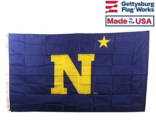 - Gettysburg Flag Works 3x5' US Naval Academy Annapolis Midshipmen Flag, United States Navy, All Weather Nylon, Officially Licensed, Made in USA