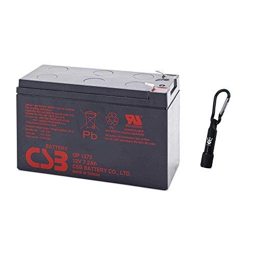CSB GP1272F2 12 Volt 7.2 Amp Hour SLA Sealed Lead Acid Battery - Complimentary Neptune Keychain LED Flashlight -
