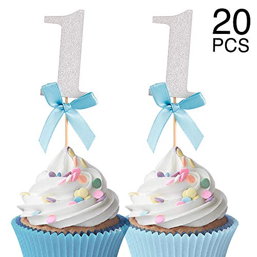 21pcs Glitter Silver Number 1 Cupcake Picks With Blue Ribbon Bow Baby Boy First Birthday Cupcake Topper 1st Anniversary Party Cake Topper Decorations