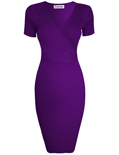 TAM WARE Womens Stylish Surplice Wrap Bodycon Knit Midi Dress TWCWD157-D166-ULTRAVIOLET-US M ()