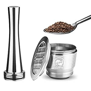 MG Coffee Food-Grade Stainless Steel Reusable Nespresso Capsule Permanent Coffee Pod Holder for Nespresso Original Line Machines with Gifts (Square Hole)