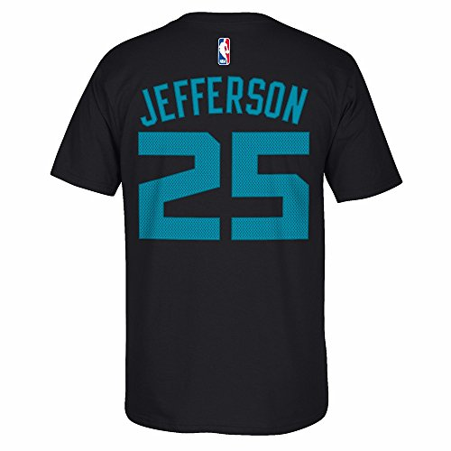 Al Jefferson Charlotte Hornets NBA Adidas Black Name & Number Player Jersey Short Sleeve T-Shirt For Men (XL)