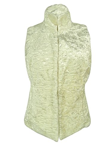 (Ralph Lauren Women's Quilted Faux Fur Reversible Vest (PL, Modern Cream))
