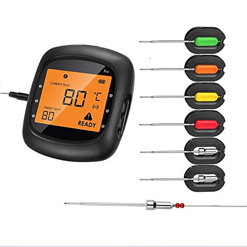 Aidmax Wireless Meat Thermometer For Grill Smoker Pro05 Digital Cooking Meat Thermometer Bluetooth Wireless Bbq Thermometer With 6 Probes Dual Probes Food Thermometer For Smoker Oven Grill Kitchen