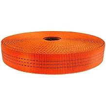 "GM CLIMBING Nylon Tubular Webbing Tape 4000lb Heavy Duty for General Outdoor Application 1"" x 30Ft Orange"