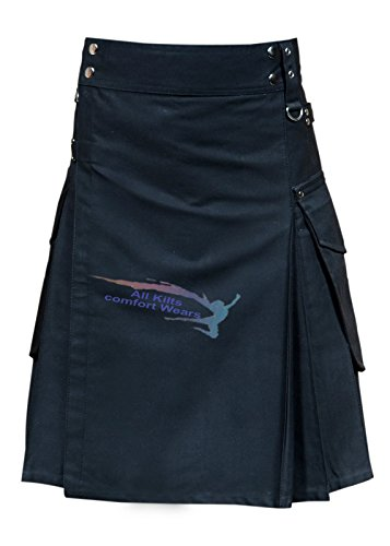 New Active Men Black Cargo Utility Fashion Kilt ()