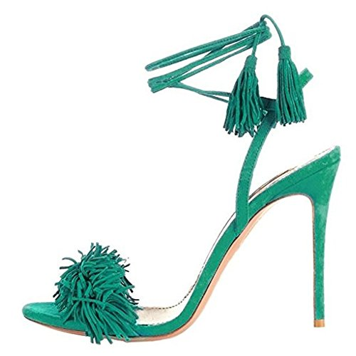 Comfity Heeled Sandals for Women Women's Tassels Sandals Lace up Slingback Shoes High Heel Dress Sandals 9.5 M US (Slip Sandals Suede)