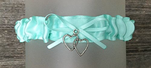 SEXY Aqua Blue Satin Wedding Toss Bridal Garter - Double heart Charm