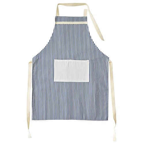 - Kitchen Apron for Women, Vintage Adjustable Design for Cooking Grill BBQ, Cotton Chef Bib with Pocket (Blue)