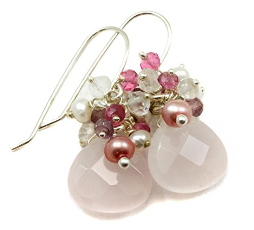 Sterling Silver Rose Quartz Earrings Faceted Cluster Style Cultured Freshwaters Pearls Silvertone Accents (Earrings Cluster Quartz Rose)