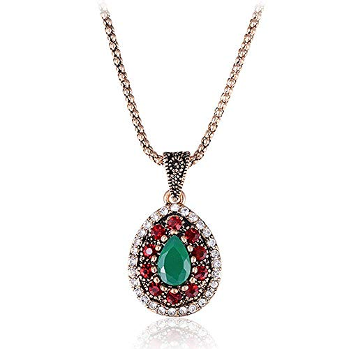 HNJingFashion Pendant Crystal Necklace Jewelry Water Drop Green Red Resin Stone Retro Gold-Color, - Austrian Crystal Engravable