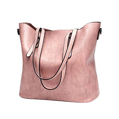 (Clearance! Women Bucket Bags, Neartime Fashion Retro Crossbody Bag Shoulder Bag Handbag Versatile Tote Messenger Bags (❤️32cm(L)×12cm(W)×29.5cm(H), Pink))