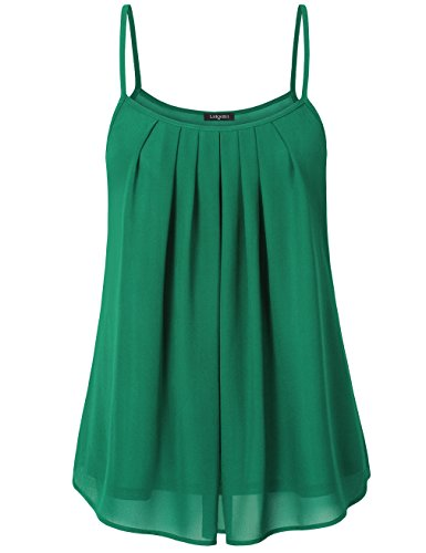 Laksmi Women's Summer Cool Casual Sleeveless Pleated Chiffon Layered Cami Tank Top (Green, (Chiffon Green)