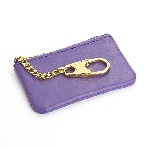 Royce Leather Slim Coin & Key holder - Cowhide Leather, Purple