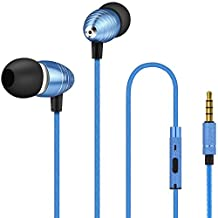 Mini Earbud Headphone, AFUNTA In-Ear Earphone 3.5mm with Microphone Stereo Sound Noise Isolating Ergonomic Comfort for Cell Phone iPhone Samsung Sony iPad Laptop PC - Blue