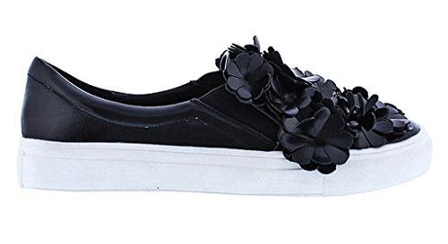 Toe 1 Liliana Carti Flats Leather Faux Black Round Sneaker Accent Floral 10 negro Black qAIxAT