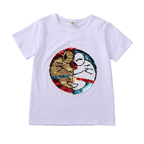 Boys and Children's Magic Sequined Sweatshirt T-Shirt Cotton Pullover Top T-Shirt (3-13 Years Old) (160(12-13 Years Old), 23)