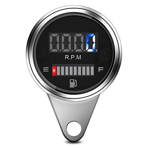 Motorcycle LED Speedometer, 2 in 1 Universal 12V LED Digital Motorcycle Speedometer Tachometer Oil Fuel Gauge:
