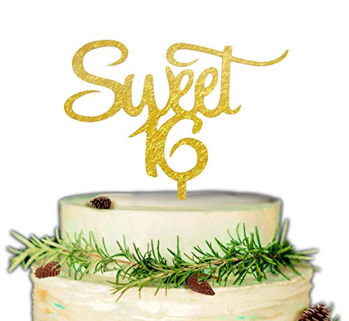 Sweet 16 Cake Topper - 16th Birthday Party Decor (Gold) -