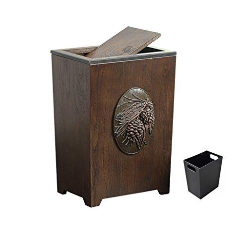 (XKKOLPUY Large Shake Trash Can, Resin Carved Household Bathroom Bedroom Living Room Waste Paper Basket 6L (Color : D))