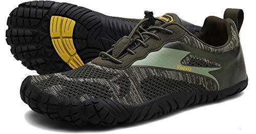Voovix Men's Minimalist Trail Running Barefoot Shoes Wide Women's Cross-Trainer Shoe Wide Toes Box(Green,42)