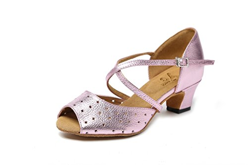 CRC Womens Stylish Peep Toe Leather Ballroom Morden Salsa Latin Tango Party Wedding Professional Dance Sandals Pale Pink Kiss EAIzSE