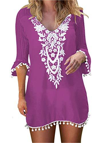 BLUETIME Cover Ups for Swimwear Women's Lace Crochet Chiffon Beach Swimsuit Coverups Tunic (L, Purple)