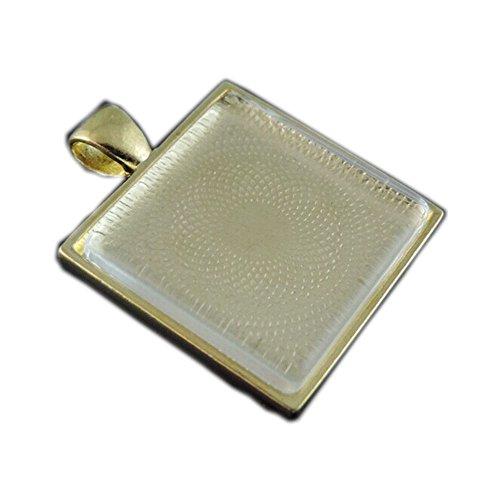 JulieWang 10 Sets per pack Antiqued Square Photo Tray Bezel Pendant Cabochon Setting Glasses 25x25mm (Gold)