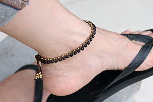 - Onyx Black Stone Beaded Woven Anklets, Lace Hemp Woven Cotton Bohemian Hippy Ankles Bracelets
