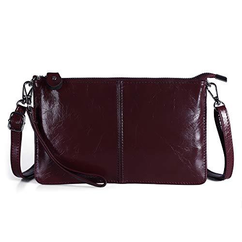 Befen Women's Leather Wristlet Mini Crossbody Bag, Small Crossbody Clutch Purse with Card Slots (Wine) - Medium Clutch Purse