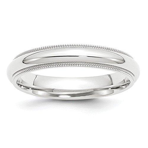 Platinum 4mm Comfort-Fit Milgrain Wedding Band