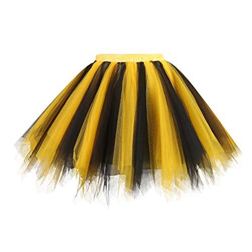 Hanpceirs Women 1950s Short Vintage Tulle Petticoat Skirt Ballet Bubble Tutu BlackGold 2X]()