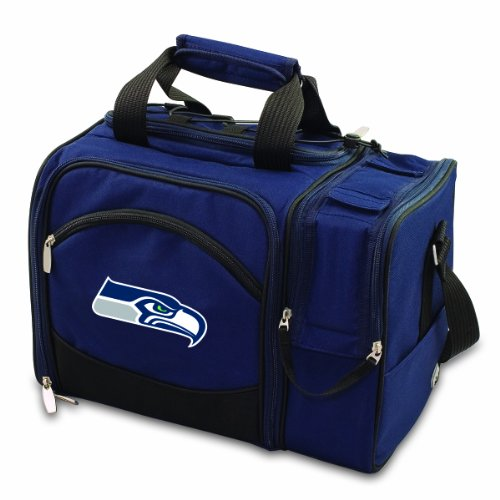 Malibu Insulated Shoulder Pack with Deluxe Picnic Service for Two (Seattle Seahawks Nfl Corkscrew)