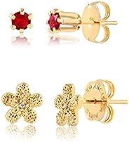Brincos c/zircônia vermelha e flor folheado em ouro