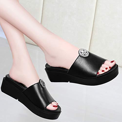 Black Donna Pantofole Tacco Estiva 36 Pendenza Con E Alto Sandali Da Strass Pantofola Alto Bagno Ciabatte black wTaqIz