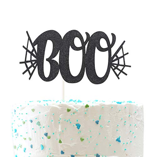 Boo Halloween Cake topper,Spider Web Pumpkin birthday Happy Halloween Party Decorations ( Double Sided Gold Glitter )